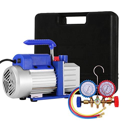 Air Conditioning Manifold (VEVOR Vacuum Pump Kit HVAC Single Stage AC Vacuum Pump 4CFM 1/4HP Air Vacuum Pump with 1 Valve A/C Manifold Gauge Set Refrigerant Air Conditioning (4CFM1/4HP 1Valve))
