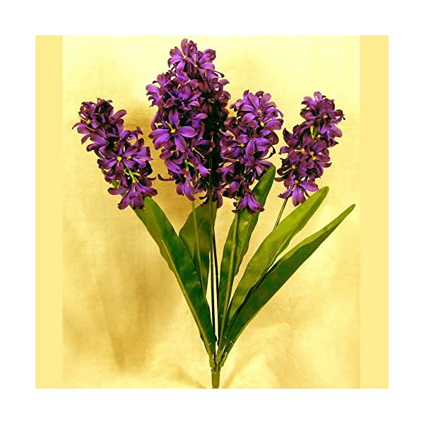 Factory Direct Craft Purple Poly Silk Hyacinth Floral Bush | for Indoor Decor