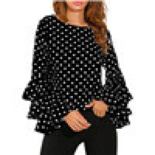 ShiTou Shirt and Blouse, Ladies' Shirts T-Shirts Trumpet Sleeves Long-Sleeved Tops and Casual Polka Dot Polo Shirts Round Neck Shirt Women's T-Shirt Black and White Dots ()