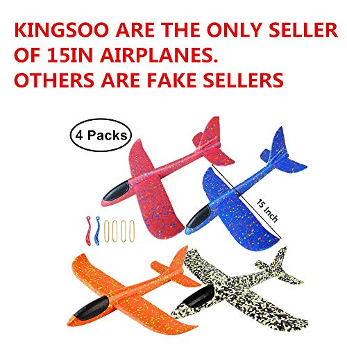 KINGSOO Glider Plane for Kids, 4 Pack 15 inch Glider Airplanes Foam Flying Airplane Kit for Outdoor Sports Garden Yard ()