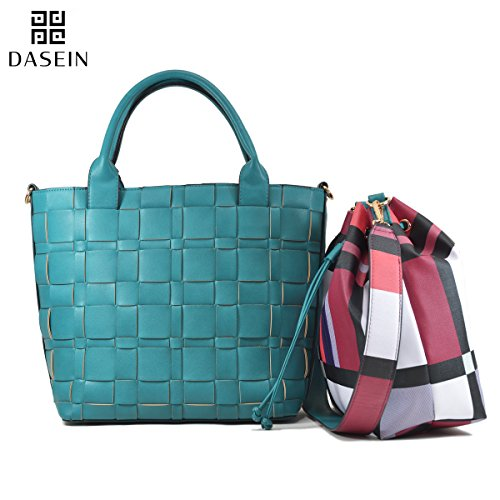 Dasein Women Leather Woven Tote Handbag Shoulder Bag with Inner Bucket Pouch