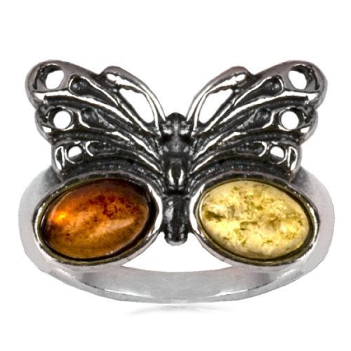 Sterling Silver Multicolor Amber Butterfly Ring