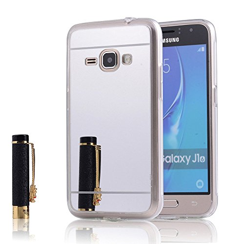Samsung Galaxy Amp 2 Case, Nicelin Acrylic Plastics Mirror Plane Cover and Soft TPU Material Case for Samsung Galaxy Amp 2 (Cricket) / SM-J120AZ [NOT FOR Samsung Galaxy Amp Prime ] (Silver) - Samsung A157 Case