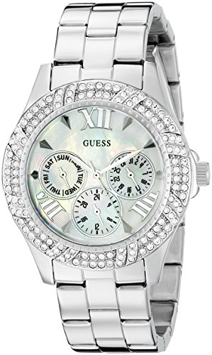 - GUESS Women's U0632L1 Sporty Silver-Tone Watch with MOP Dial , Crystal-Accented Bezel and Stainless Steel Pilot Buckle