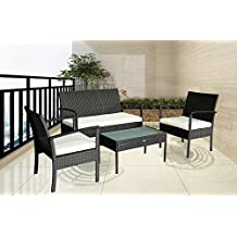 Patio Outdoor Balcony Furniture 4Pcs Small Sofa Set (White)
