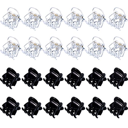 Mini Hair Clips Plastic Hair Claws Pins Clamps for Girls and Women (24 Pieces, Black and Clear)