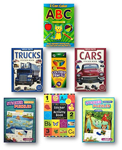 Sticker Books for Boys, 6-Pack Includes a Cars and a Trucks