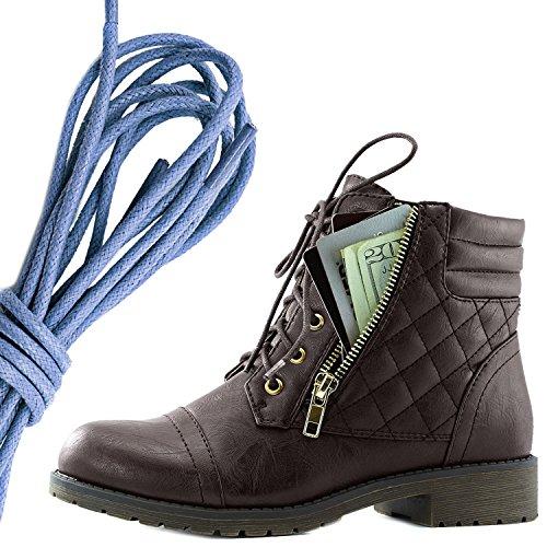 Dailyshoes Donna Militare Allacciatura Fibbia Stivali Da Combattimento Alla Caviglia Alta Tasca Esclusiva Per Carte Di Credito, Blu Royal Marrone Pu