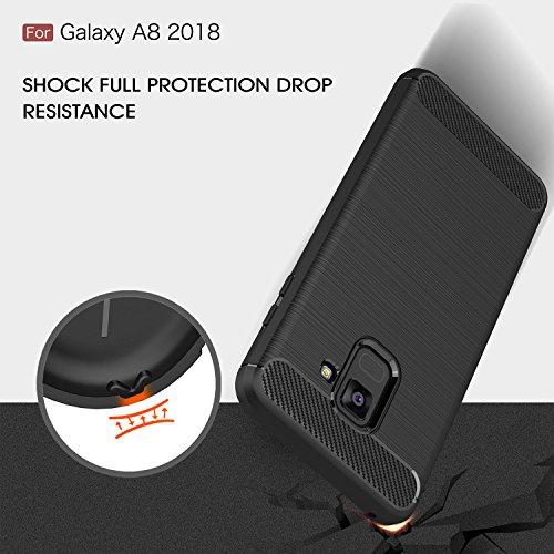 Funda para Samsung Galaxy A8 2018 , IJIA Gris TPU Silicona La fibra de Carbono Suave Cover Tapa Caso Parachoques Carcasa Cubierta Al Aire Libre Case Soft Shell para Samsung Galaxy A8 2018 (5.6) black