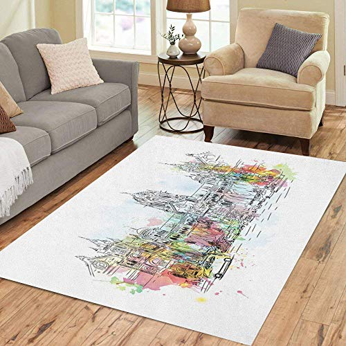 Bombay Collection Rug - Semtomn Area Rug 5' X 7' Watercolor Sketch of CST Chatrapati Shivaji Terminus Mumbai India Home Decor Collection Floor Rugs Carpet for Living Room Bedroom Dining Room