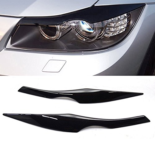 Pre-painted Eyelid Fits 2006-2011 BMW 3 Series E90 | ABS Painted #668 Jet Black Headlight Eyelid Eyebrow Other Color Available By IKON MOTORSPORTS | 2007 2008 2009 ()
