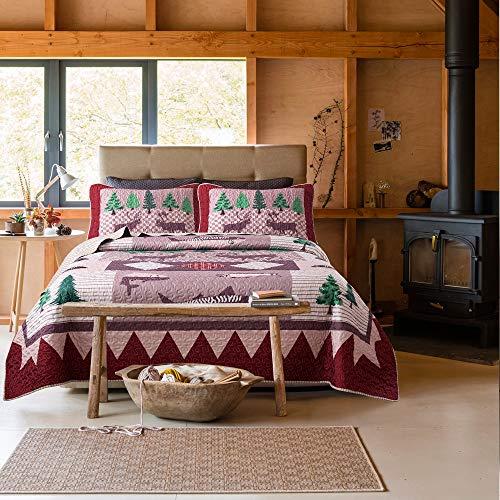 Soul & Lane Wild Wonders Cabin Lodge 3-Piece Lightweight Printed Quilt Set (King) | with 2 Shams Pre-Washed All-Season Machine Washable Bedspread - Hunt King Sham