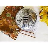 "WuYou 6.5"" Chakra Drum/Tank Handpan Precussion Lotus Symbol, Great for Meolodies Theropy Healing (Silver)"