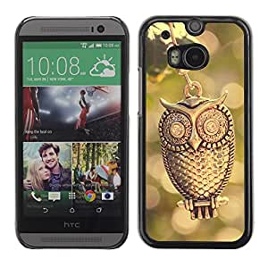 Slim Design Hard PC/Aluminum Shell Case Cover for HTC One M8 Design Gold Owl / JUSTGO PHONE PROTECTOR