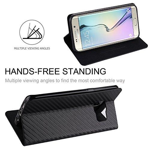 tanxainewiduixi Samsung, Kunstleder, schwarz, Samsung Galaxy S6 Edge
