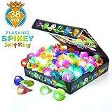 Light Up Rings Kids Party Favor Ring Novelty Glow Jelly Blinking Bulk (38 Pack)