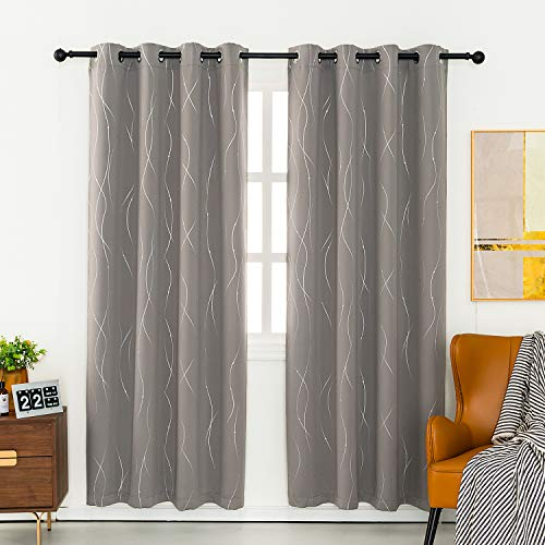Anjee Eyelet Thermal Insulated Blackout Curtains and Drapes Wave Line with Dots Printed for bedroom living room Children's room Two Matching Tie Backs 46 x 72 inch Space Gray