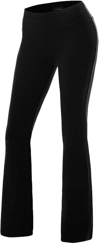 SEASUM Pantaloni Yoga da Donna Elastici Largo Sportivi Nero Taglia L