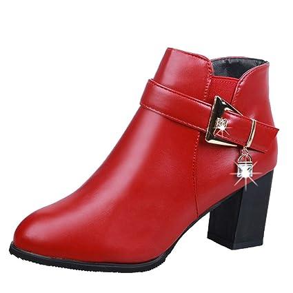 LuckyGirls Botines de Cuero Las Mujeres de Tacón Cuadrado Botas con Hebilla Bisutería Zapatos de Tacón