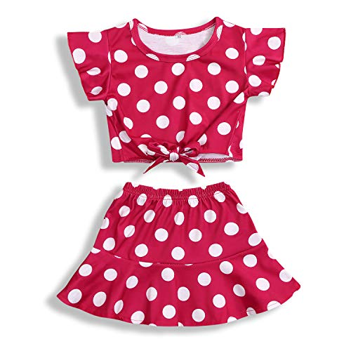 Toddler Baby Girls Summer Clothes Sets Polka Dot Ruffled Short Sleeve Skirt Set 2Pcs (Red, 12-18 Months)