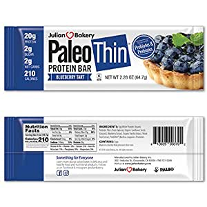 Julian Bakery Paleo Thin Protein Bar | Blueberry Tart | Egg White Protein | 20g Protein | 2 Net Carbs | 12 Bars