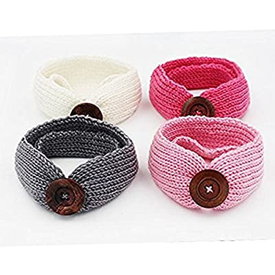 4PCS Baby Girls Wrap Headbands Knotted Knitted Headbands with Button