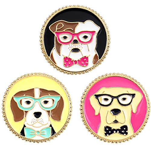 Chamqueen 3 Pcs Lovely Cartoon Dog Brooch Cute Enamel Animal Lapel Pins Set Dogs Badges for Clothing Bags Backpacks