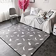 Ukeler Modern Grey Area Rugs Non-skid Washable Floor Accent Rugs for Living Room, 59''x74.8'', Feather