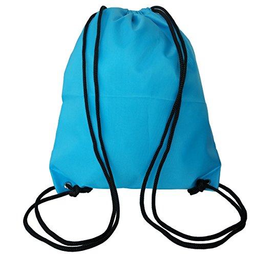 6 Pack Drawstring Backpack Bags 420D polyester fabric Folding Shoulder Cinch Bag by Topspeeder (Image #3)