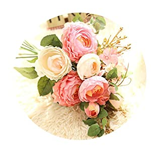 Elibone Artificial Rose Flowers Hydrangea Hands Holding Silk Flower Bridal Bridesmaid Bouquet Latex Real Touch Floral Wedding Party,3 18