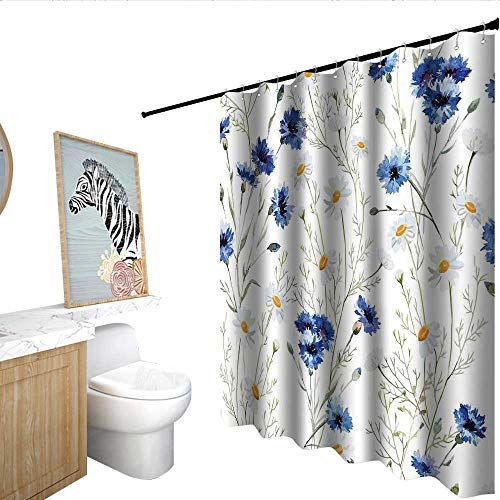 Watercolor Flower Shower stall Curtains Wildflowers and Cornflowers Daisies Blooms Flower Buds Western Shower Curtains Blue Sage Green Marigold W72 x L96
