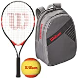 Wilson Roger Federer 23 Inch Pre-Strung Junior Black/Red Tennis Racquet with a Grey Tennis Backpack and a 3-Pack of Orange Starter Tennis Balls (Perfect for Kids Ages 7-9)