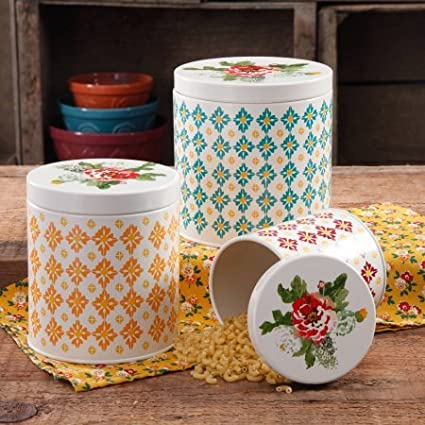 The Pioneer Woman Vintage Geo 3-Piece Canister Set