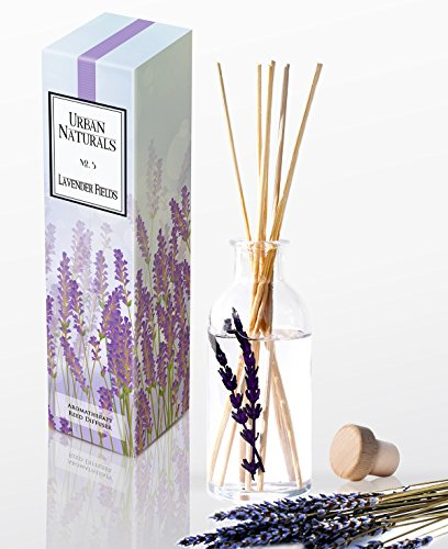 Urban Naturals Lavender Fields Oil Aromatherapy Essential Oil Reed Diffuser Set with Real Lavender Stems! French Blossoms, Geranium & Clary Sage | #1 Gift Idea for Stress Relief by Urban Naturals
