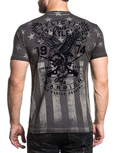 Affliction Men's CK Freedom Tee Shirt White Oil Stain Large