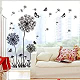 perfect dandelion wall decals 3cworld Dandelion and Butterflies Self-adhesive Wall Decals Stickers for DIY Mural Art Merry Christmas Gift (Dandelion-black)