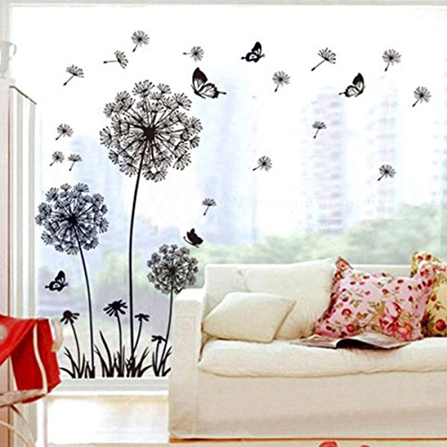3cworld Dandelion and Butterflies Self-adhesive Wall Decals for DIY Mural Art Merry Christmas Gift (Dandelion-black) (Black Wall Decals compare prices)