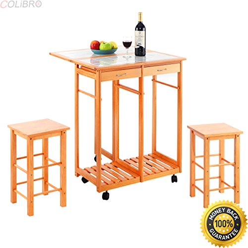 COLIBROX--Rolling Kitchen Island Trolley Cart Drop Leaf Table w/ 2 Stools Home Breakfast. drop leaf utility cart. kitchen island with drop leaf clearance. rolling kitchen island with drop leaf. (Kitchen Clearance Island Drop With Leaf)