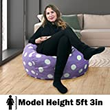 2.5 ft Bean Bag Chair Original Panda Sleep in Lavendar with White Polka Dots ...