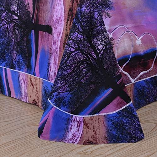 YYXLL Housses De Couette Lit Double 3D Plage Imprimé Polyester Respirant À l'aise avec Fermeture À Glissière Housse De Couette Et 2 Ensembles De Literie Taie,B,Full