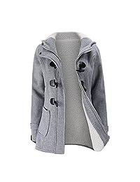 FANTIGO Women's Casual Wool Blended Classic Hooded Zipper Pea Coat