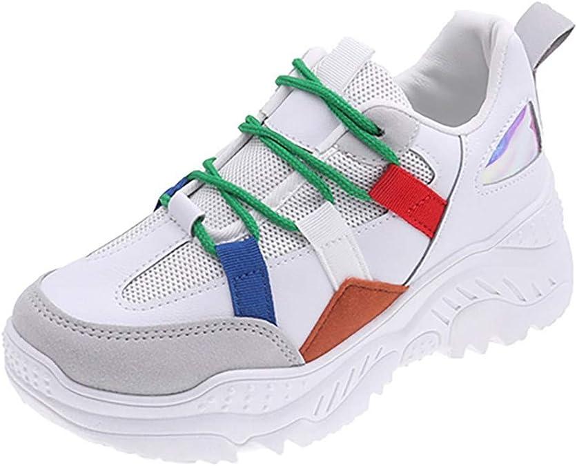 Zapatillas de Deporte para Mujer, Gruesas, Redondas, con Cordones ...