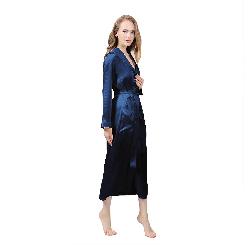 LULUSILK Damen 22 Momme Seide Lang Morgenmantel Morgenrock Nachtwäsche Nachtkleider