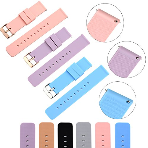 XiangMi Silicone Watchband Strap,Quick Release and Soft Rubber Surface with Textured Non-slip Back, Variety Color & Size for (2 Strap Slip)