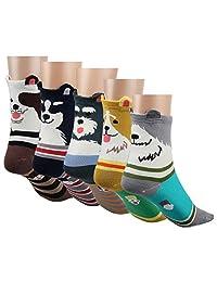 Posher TM FL6 Womens 5 Pairs Cartoon Cute Dog Socks,Lovely Animal Arder Cotton Socks For Women