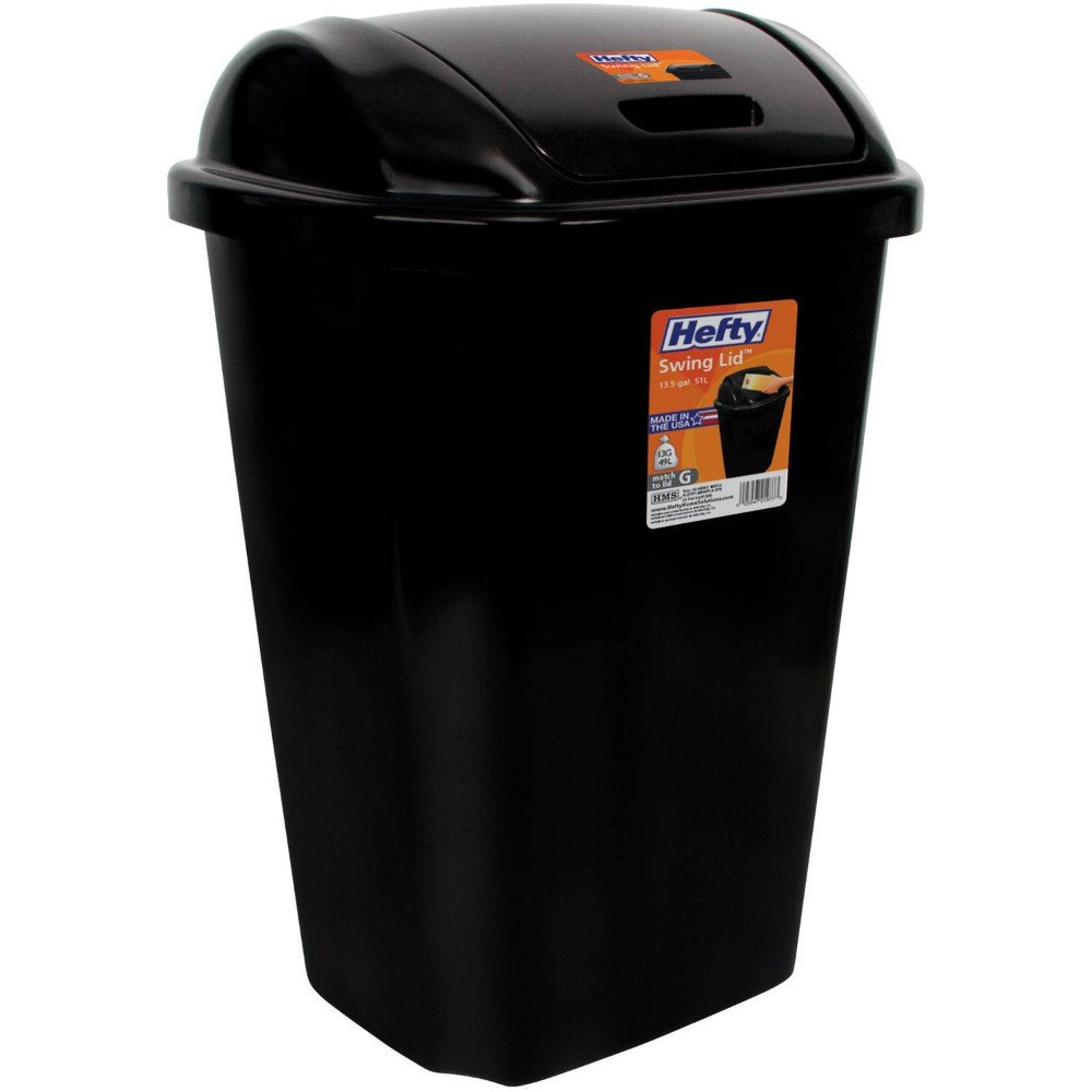 Kitchen Trash Can 13.5 Gallon Hefty Swing Lid Black Waste Basket Garbage Bin New