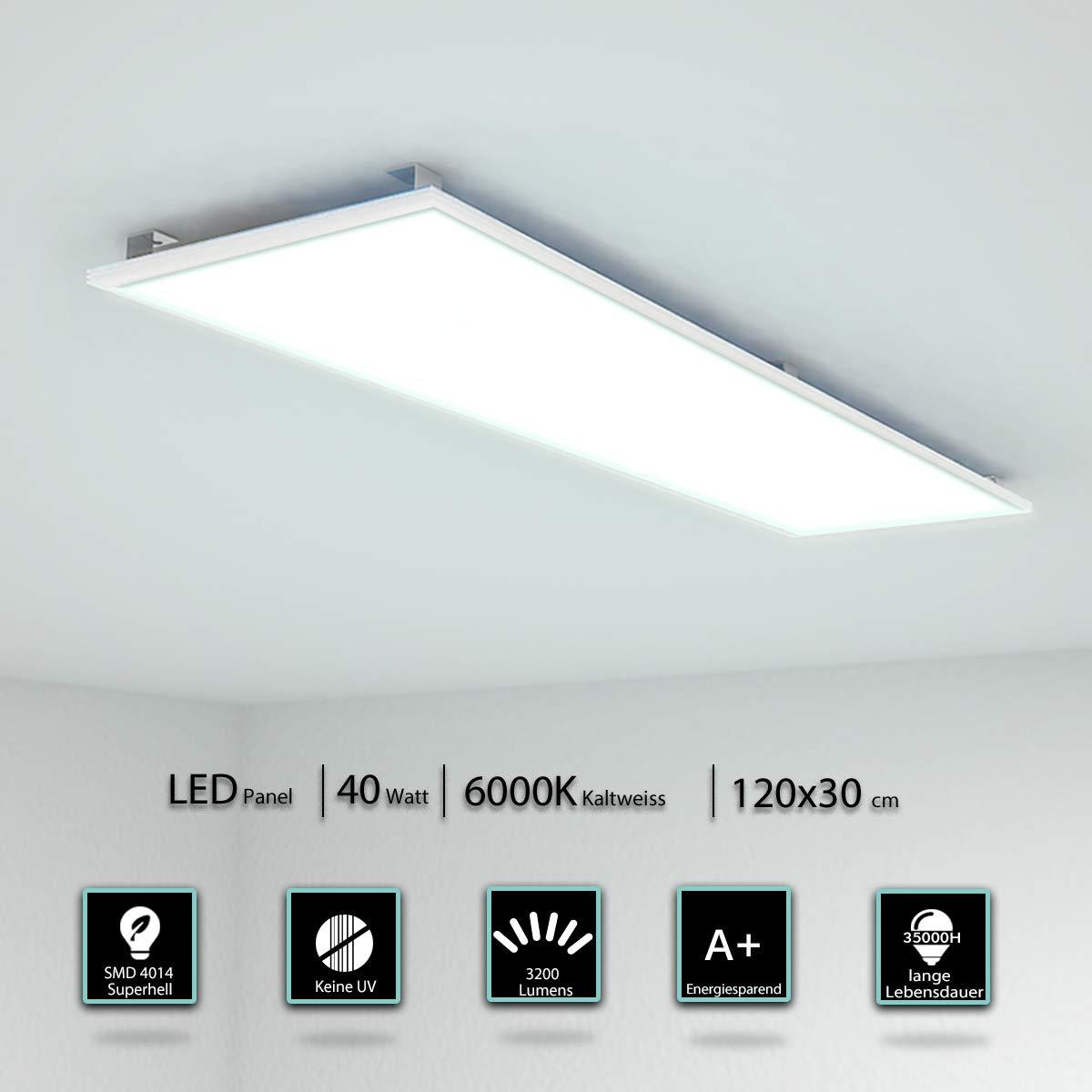 LED Panel Deckenleuchte 120x30 CM 40W 3000-3200 Lumen Wandleuchte Warmwei/ß 3000K LED Lampe Ultraslim Einbauleuchte Silberrahmen Befestigungsmaterial und Trafo Energieklasse A+
