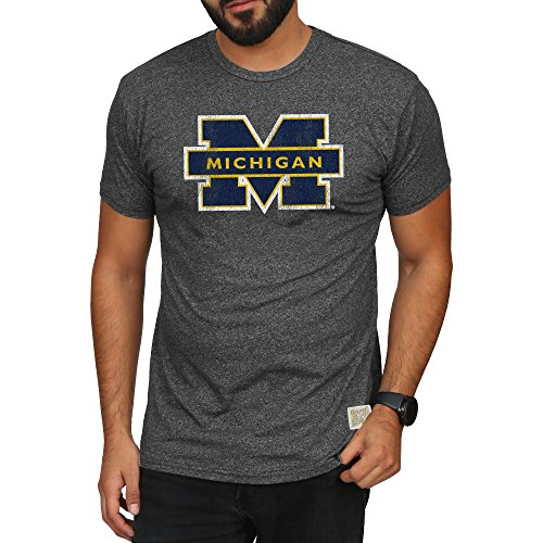 - Elite Fan Shop Michigan Wolverines Retro Tshirt Charcoal - XXL