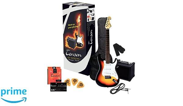 Tenson F502543 - Pack guitarra eléctrica RC-100, diseño 3-Tone sun burst: Amazon.es: Instrumentos musicales