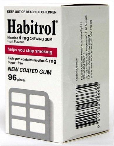 Habitrol Nicotine Quit Smoking Gum, 4mg, Fruit flavor coated gum. 96 pieces per box by (4 Mg Fruit Flavor)